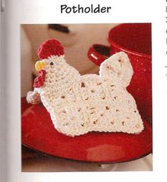 Cute, Cute, Cute Chicken Potholder! You can get this pattern in a book called Gooseberry Patch: Fun to Crochet Gifts (Leisure Arts #4474) year 2008. I bought mine on Amazon.com through a used bookseller. Like  new. Theres also  a photo turorial you can follow on this link to make it; http://thisyearsdozen.wordpress.com/2010/03/03/chicken-potholder-taking-my-new-skills-for-a-test-drive/