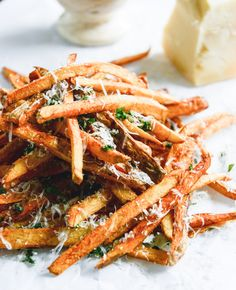 herb salted garlic parmesan french fries I howsweeteats.com