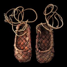 Russia | Traditional vintage bast shoes from the countryside | 19th century
