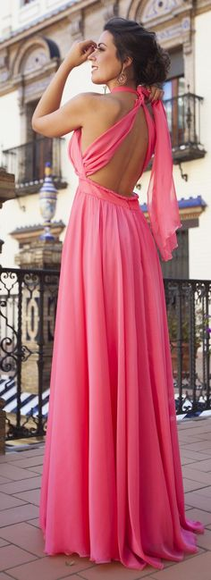 Silvia Navarro Coral Crossing Back New Collection Maxi Dress