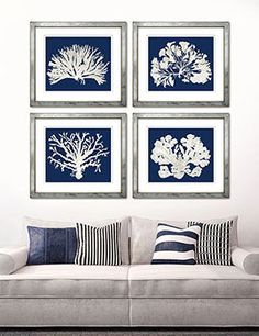 White on Navy Corals Hamptons Living Room, Navy Living Rooms, Estilo Navy, White Wall Bedroom, Coral Art, Coastal Bedrooms, Wall Accessories, Home Decor Quotes, Yellow Painting