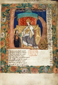Royal 18 C xviii f.1. Historiated initial 'H'(ere) of the author presenting the book to an enthroned king, with a full border containing white and red roses, at the beginning of the list of contents.   Origin: England