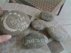 I did this as a fundraiser for Relay for life. Pretty inexpensive.   All you have to do is find the rive rocks, I got a glass engraver at a hardware store, worked out my templates on the computer, transferred them to the rocks and etched them with the glass engraver.