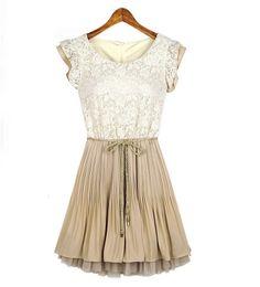 Lace Short Sleeves Chiffon Dress @ MayKool.com