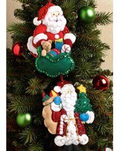 Bucilla ® Seasonal - Felt - Ornament Kits - Traditional and Old World Santas