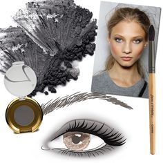 Simply Grey - Apply Grey Silk all over lids. Tiop with Smokey Grey and blend into creases. Extend out from corners. For added drama, line eyes with Smoky Quartz Mystikol. Finish with black mascara. Apply Whisper to cheeks. Finish look with Tangerine gloss on lips.