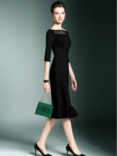 Black Ruffled Hem Midi Dress With Horizontal Neck Formal Dresses For Women, Suits For Women, Business Dresses, Black Ruffle, Classic Outfits, African Dress, Purple Dress, Modern Fashion, Dress Patterns