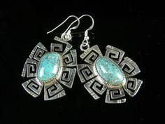 Turquoise Earrings, by Kee Yazzie, Jr.