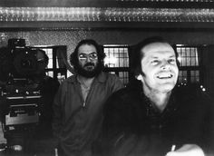 Stanley Kubrick sets up an over-the-shoulder shot with Jack Nicholson on The Shining's Gold Room set.