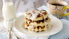 Try making cinnamon rolls with your waffle iron! Weekend breakfast will never be the same.