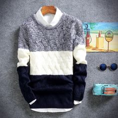 Sweater Coats, Cotton Sweater, Pullover Sweaters, Men Sweater, Korean Fashion, Mens Fashion, Casual Sweaters, Look Chic, Mens Clothing Styles