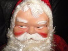 "Vintage Plush Christmas SANTA CLAUS rubber face, hands & boots, stuffed doll 28"""