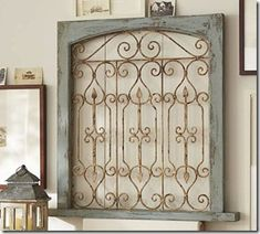 Pottery Barn Blue Gate Knock Off   love this idea! she used an old wood frame and iron fence pieces from a hardware store