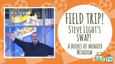 KidLit TV tagged along as Steve Light installed theSwap!window at Books of Wonder in New York City.
