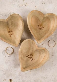 Wooden Heart Dishes