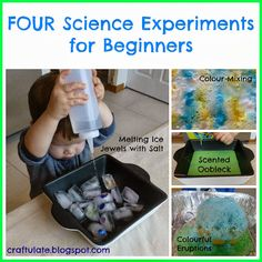 Here are four easy science experiments: melting ice jewels with salt, scented oobleck, colourful eruptions and scented colour mixing. Perfect for toddlers! Science Activities For Kids, Preschool Science, Science Classroom, Teaching Science, Science Projects, Toddler Activities, Preschool Activities, Toddler Play, Preschool Lessons