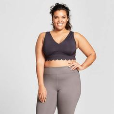 da5b17c8743cb JoyLab Women s Plus Lightweight Premium Scalloped Edge Sports Bra - JoyLab  Black Scalloped Edge