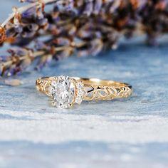 Moissanite Cluster Engagement Ring Gold Antique Art Deco Oval