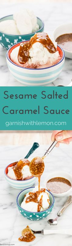 Sesame Salted Caramel Sauce made with Tahini  ~ http://www.garnishwithlemon.com
