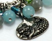 Mermaid Cat Charm Bracelet - Natural Stones - Mythical Allure  Glamour