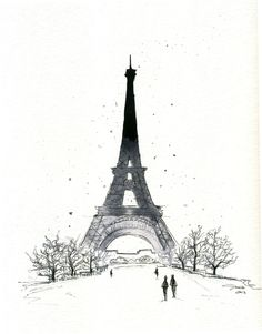 Paris in the Winter, #watercolor #paris by Jessica Durrant