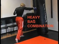 Heavy Bag Muay Thai and Kickboxing Combination Boxing Techniques, Krav Maga Techniques, Martial Arts Techniques, Self Defense Techniques, Karate Training, Boxing Training, Boxing Workout With Bag, Cardio Kickboxing, Kettlebell