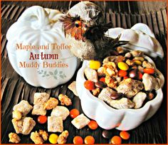 Maple and Toffee Autumn Muddy Buddies Recipe, welcome Autumn and Fall with a batch of these delicious Muddy Buddies, drizzled with Buttery Maple Syrup, Cookie Butter and other goodies!