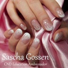 Weddingnails with CND L&P.  #wedding #nailart #naildesign #airbrush #white #weddingnails #CND #FrenchManicure #swirl