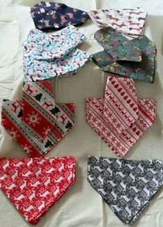 Christmas Dog Bandana - slip over collar style by LillianaDesignsUK on Etsy