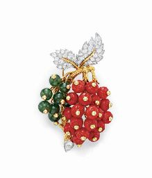 A CORAL, DIAMOND AND HYDROGROSSULAR GARNET BROOCH, BY DONALD CLAFLIN, TIFFANY & CO.