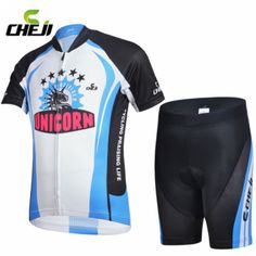 Cool ! CHEJI Boy Girl Black-Blue  Cycling Short Sleeve Clothing Set Children Bicycle Jersey   Short Suit | #CLOTHINGANDAPPARELS #KIDS