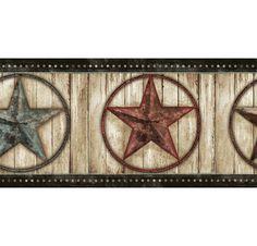 878354 Weathered Barn Star Wallpaper Border