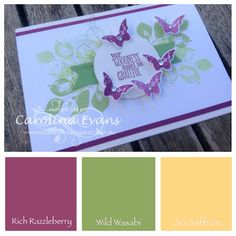 Kinda Electic Card inspired by Just Add Ink #264 using Rich Razzleberry & Wild Wasabi, all Stampin' Up! products 2015 Carolina Evans #stampinup