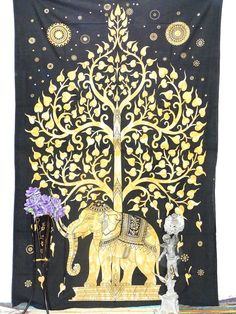 Beautiful Elephant Tree of life Tapestry Hippie by Ayatcreation, $16.99