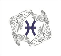 Zodiac sign pisces machine embroidery design 4