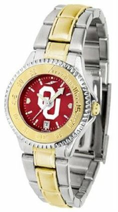 Oklahoma Sooners OU NCAA Womens Two-Tone Anochrome Watch by SunTime. $93.95. The ultimate fans statement our Competitor Two-Tone timepiece offers men a classic business-appropriate look. Features a 23kt gold-plated bezel stainless steel case and date function. Secures to your wrist with a two-tone solid stainless steel band complete with safety clasp. The AnoChrome dial option increases the visual impact of any watch with a stunning radial reflection similar to t...