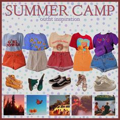 camp outfits comment what u would wear inspired by hazydaisies Retro Outfits, Vintage Outfits, Cool Outfits, Fashion Outfits, Lake Outfits, 90s Fashion, Vintage Fashion, Summer Camp Outfits, Camping Outfits