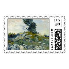 The Rocks by Vincent Van Gogh Postage Stamp
