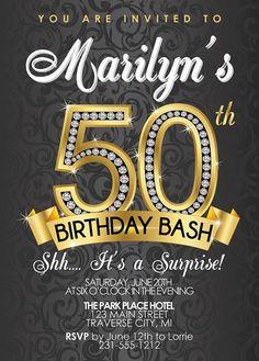 50th Birthday Invitation - Adult Birthday Party Invitation - Diamond Milestone Black and Gold