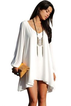 white-chiffon-relaxed-mini-loose-fit-dress ; love this dress but prob will be too short for me:-(