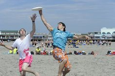 Ultimate Frisbee Tournament not only on the field but on the sand in Wildwoods Beach, NJ. (photo credit to unknown)