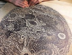 Tugboat Printshop's THE MOON Woodcut Print ~ A Full Color, Hand-drawn, Hand-Carved Authentic Woodblock Print.