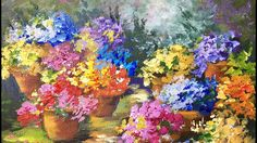 Pots of Flowers - A Beginner Acrylic Painting Tutorial by Ginger Cook