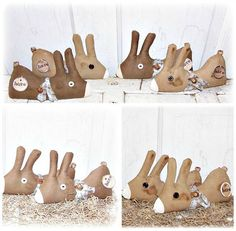HANDMADE Primitive Folk Art Bunny Rabbit Hare by FosterChildWhimsy