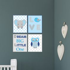 Enchanted Interiors Wall Art Prints Safari Woodland Dream Big Little One Print  ** UNFRAMED Prints **  This set of 4 safari woodland prints are a combination of cute animals and baby quotes which will make a fantastic addition to a gender neutral nursery room. To celebrate a