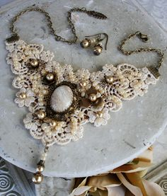 CASTING PEARLS Victorian romantic venice lace bridal bib necklace with pearls, lace choker with matching earrings.
