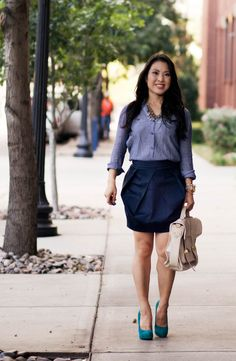 """After rotating through my collection of pencil skirt, I decided to switch it up today and wear this tulip skirt instead. I had put all of my non-pencil skirt on hiatus post-pregnancy, as I just felt like they made me look too """"puffy"""", if that makes sense. But now more than a year later and …"""