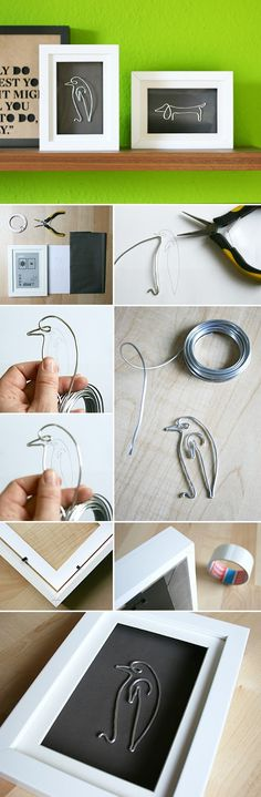 Gingered Things, DIY,  Picasso, wire, decoration, wall art, animals