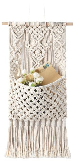 Mkono Macrame Magazine Storage Organizer Mail Holder Wall Mount Cotton Wovening Hanging Pocket Boho Home Decor Ivory, W × L Macrame Design, Macrame Art, Macrame Projects, Macrame Knots, Macrame Mirror, Macrame Curtain, Macrame Wall Hanging Patterns, Macrame Hanging Planter, Macrame Patterns