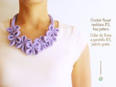 Crochet Flower Necklace #3, free crochet pattern by ChabeGS: This pattern is available in English and Spanish and includes a photo tutorial.